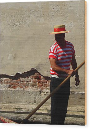 Wood Print featuring the photograph Mystery Gondolier by Ramona Johnston
