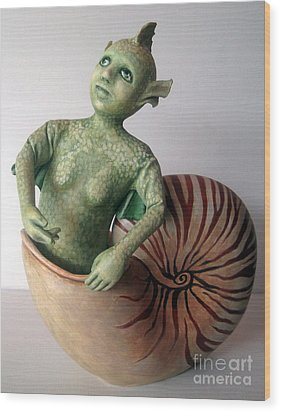 Mystery Of The Nautilus - Figurative Sculpture Wood Print by Linda Apple