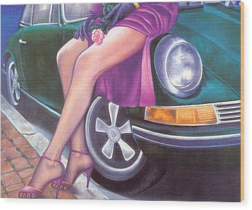 Mystery On Peter's Porsche Wood Print