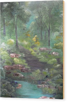Wood Print featuring the painting Mystery Path by Ellen Canfield