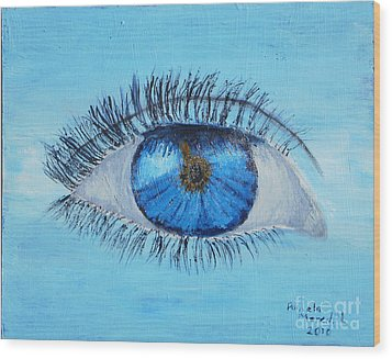 Wood Print featuring the painting Mystic Eye by Pamela  Meredith