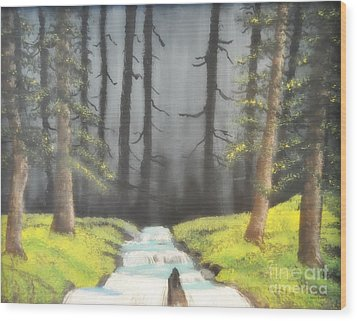 Wood Print featuring the painting Mystic Forest by Mindy Bench