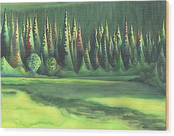 Mystic Marsh Wood Print by Anne Havard