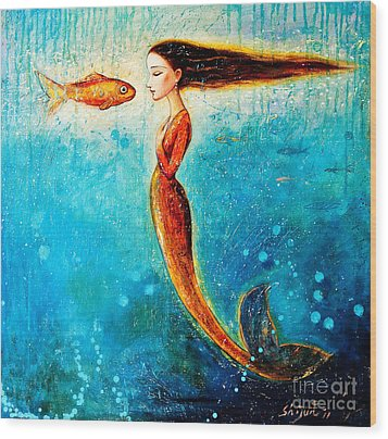 Mystic Mermaid II Wood Print by Shijun Munns