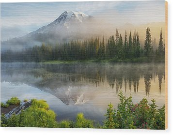 Mystic Rainier Wood Print by Ryan Manuel