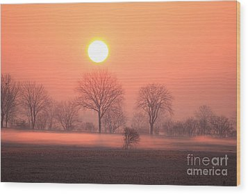 Mystic Red Sunrise Wood Print