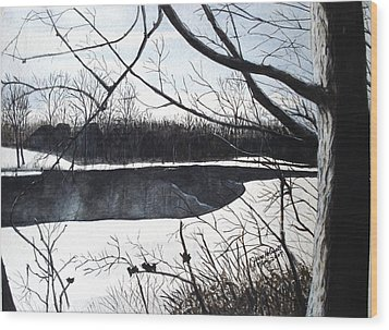 Mystic River - Winter Remnants Wood Print by June Holwell