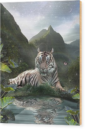 Mystic Tigress Wood Print by Alixandra Mullins