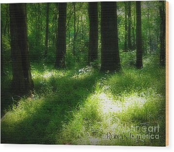 Mystical Forest Wood Print by Lorraine Heath