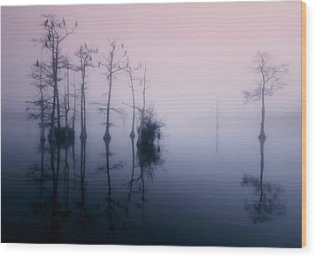Mystical Morning On The Lake Wood Print by Myrna Bradshaw