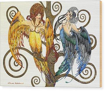 Mythological Birds-women Alconost And Sirin- Elena Yakubovich  Wood Print