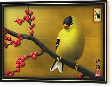 N. American Male Goldfinch Wood Print