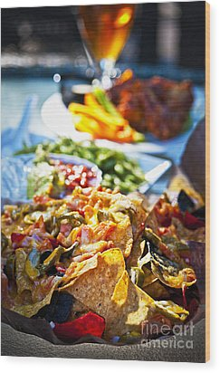 Nacho Plate And Appetizers Wood Print by Elena Elisseeva