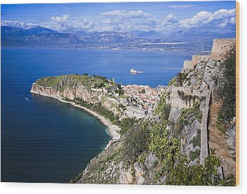 Nafplio Peninsula Wood Print by David Waldo
