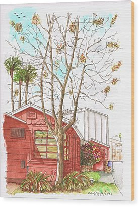 Naked Tree And Brown House In Cahuenga Blvd., Hollywood, California Wood Print by Carlos G Groppa