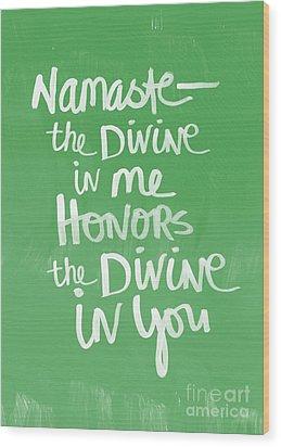 Namaste Card Wood Print by Linda Woods