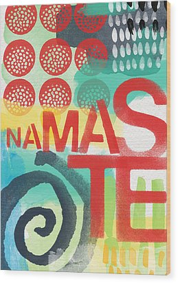 Namaste- Contemporary Abstract Art Wood Print by Linda Woods