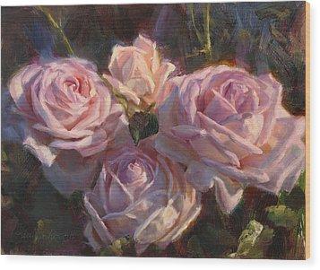 Nana's Roses Wood Print by Karen Whitworth