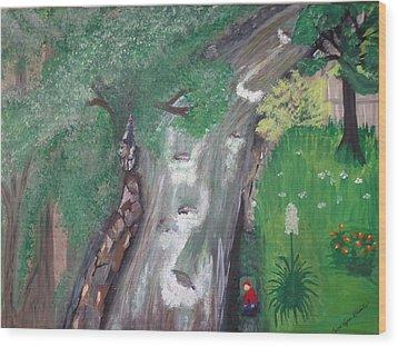 Nanas Window View Wood Print by Carol  Lynn Bronte