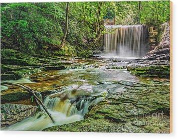 Nant Mill Waterfall Wood Print by Adrian Evans