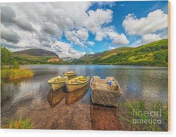 Nantlle Lake Wood Print by Adrian Evans