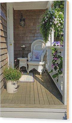 Nantucket Porch Wood Print