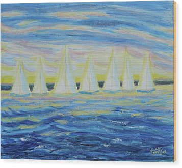 Nantucket Sunrise Wood Print by Diane Pape