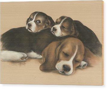 Nap Time Wood Print by Chieko Amadon