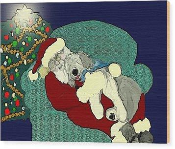 Nap With Santa Wood Print