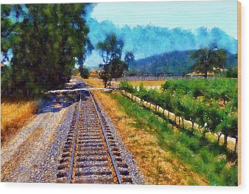 Napa Valley Tracks Wood Print by Kaylee Mason