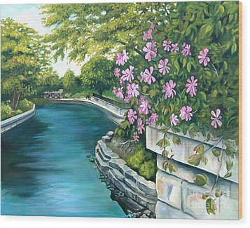 Wood Print featuring the painting Naperville Riverwalk by Debbie Hart