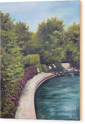 Wood Print featuring the painting Naperville Riverwalk II by Debbie Hart
