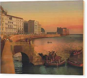 Wood Print featuring the painting Naples Italy 1920 by Douglas MooreZart