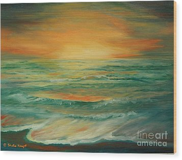 Wood Print featuring the painting Naples Mystical Sunset by Shelia Kempf