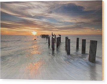 Naples Sunset Wood Print