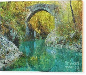 Napoleon Bridge Across The River Nadiza Wood Print by Dragica  Micki Fortuna