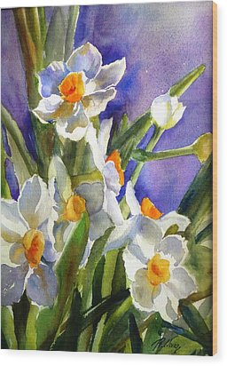 Narcissus Wood Print by Betty M M   Wong