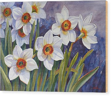 Narcissus Daffodil Flowers Wood Print