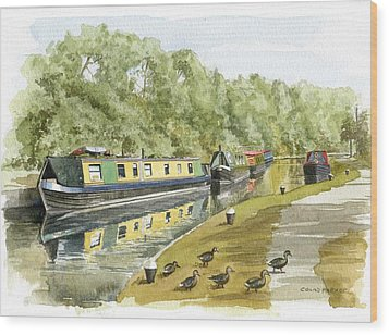 Narrow Boats On The Grand Union Canal Wood Print