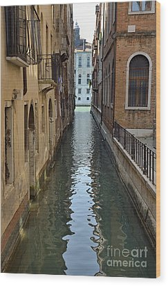 Narrow Canal In Venice Wood Print by Sami Sarkis