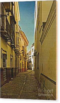 Narrow Street In Seville Wood Print by Mary Machare