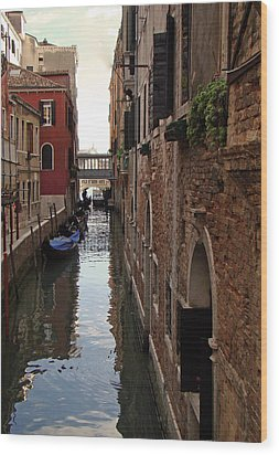 Wood Print featuring the photograph Venice Narrow Waterway by Walter Fahmy