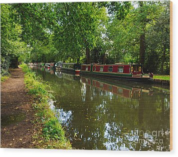 Narrowboats Moored On The Wey Navigation In Surrey Wood Print by Louise Heusinkveld