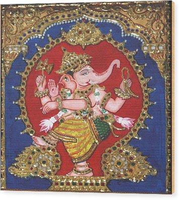 Narthana Ganapathi Wood Print by Jayashree