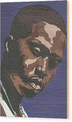 Wood Print featuring the painting Nas by Rachel Natalie Rawlins