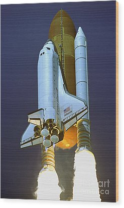 Nasa Atlantis Launch 2 Wood Print