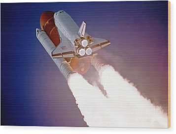 Nasa Atlantis Launch 3 Wood Print