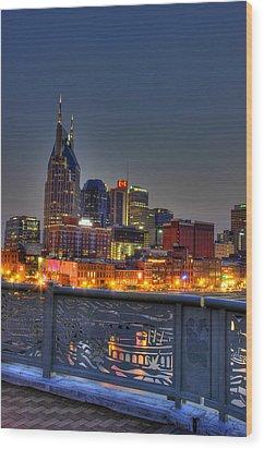 Nashville Glow Wood Print by Zachary Cox