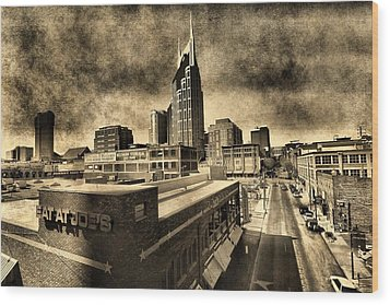 Nashville Grunge Wood Print by Dan Sproul