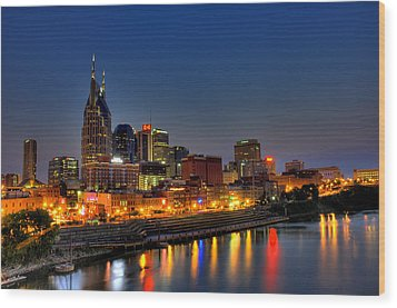 Nashville Lit Up Wood Print by Zachary Cox